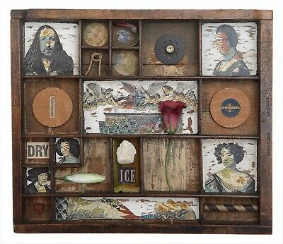 Wonderful Quirky Assemblage Artwork in Old Printers Tray Cabinet - 'Dry Ice'