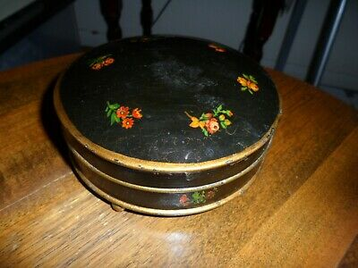 Antique Tole Ware Trinket  Box. Hand Painted And Charming.