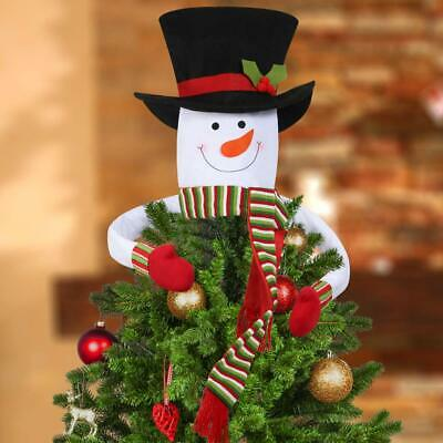Cute Snowman Hugger Christmas Tree Topper Head Large Top Hat W Arms Scarf New