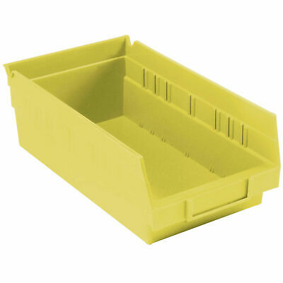"Nestable Shelf Bin, Plastic, 6-5/8""W x 11-5/8"" D x 4""H, Yellow, Lot of 12"
