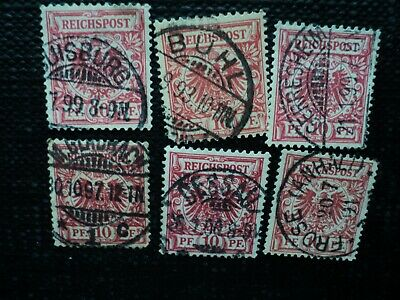 Germany:  Six Socked On Nose Cancels, 1893 -1900, Buhl, Gerresheim, Etc.