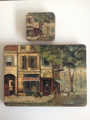 """Pimpernel Table Mats French Cafe Scenes 4 Mats 12x9"""" + 6 Coasters"""