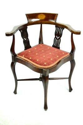 Antique Edwardian Inlaid Mahogany Corner Chair - FREE Shipping [PL4989]