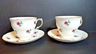 2 Vintage Colclough Bone China Tea Cups & Saucers - Rosebuds #7433