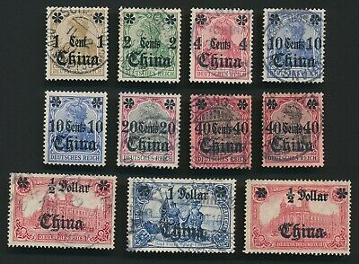 GERMAN CHINA STAMPS 1906-1919 NO WMK TO 40c, HIGHER VALUES WMK LOZENGE, VF GROUP