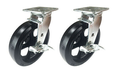 "2 Caster Set 4"" 5"" 6"" 8"" Rubber on Cast Iron Rigid Swivel Brake Total Lock"