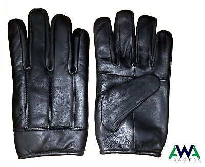 Mens / Gents Soft Leather Winter Gloves with Warm Fleece Lining Style Black