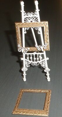 BEAUTIFUL  PICTURE EASEL  .. GOLD FRAMES  .. WHITE WIRE  ... dollhouse miniature