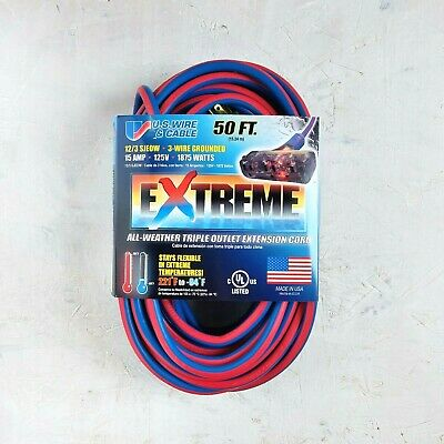 50' 12 Gauge Cold Weather Extension Cord w Lighted Triple Outlet - MADE IN USA