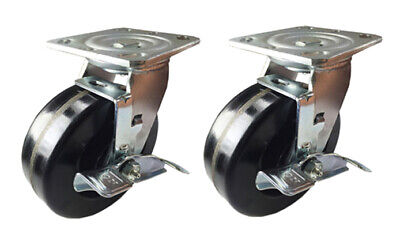 "2 Heavy Duty Caster Set 4"" 5"" 6"" 8"" Phenolic Wheel Rigid Swivel Brake Total Lock"