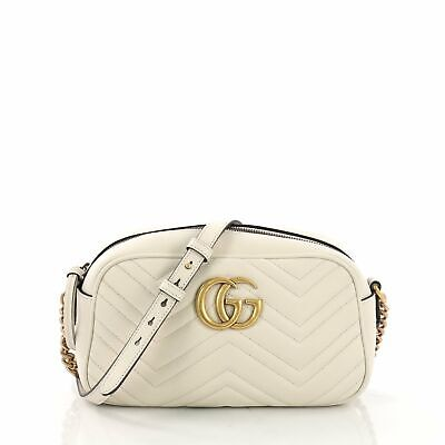 180f12087b4 GUCCI GG MARMONT Matelasse White Leather Pearl Belt Bag AUTHENTIC ...