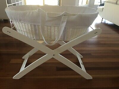 Moses Basket Bassinet with white stand