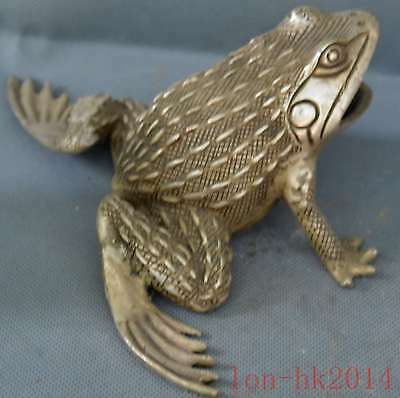 China Collectable Handwork Old Miao Silver Crave Big Mouse Frog Souvenir Statue