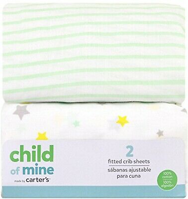 """CARTER'S Child of Mine 100% Cotton Fitted Crib Sheets - Pk. of 2 - 28"""" x 52"""" NWT"""