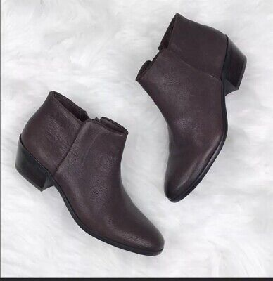4a66ac88d5c8 Sam Edelman Petty Chelsea Ankle Boots Dark Brown Leather Booties Size 8.5