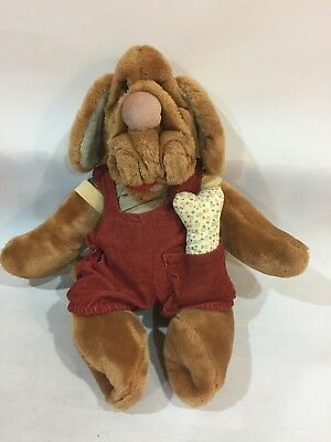 Vintage 1980s Plush Toy ~ Dog Puppet ~ Wrinkles ~ Ganz Boy With Bone