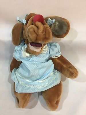 Vintage 1980s Plush Toy ~ Dog Puppet ~ Wrinkles ~ Ganz Girl In Spotty Dress