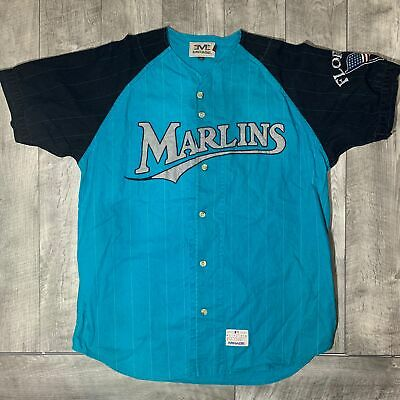 6a610aa7480 RARE Vintage Florida Marlins MIRAGE Button Up MLB Pinstriped Teal Jersey  Mens XL