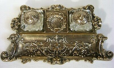 Antique Art Nouveau Solid Brass Ink Stand w/ Double Glass Inserts