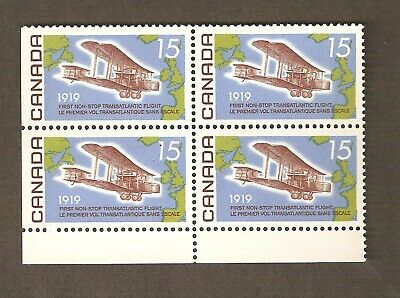 494i 15¢ Alcock and Brown Fluorescent paper Corner Block of 4 CV $50.00