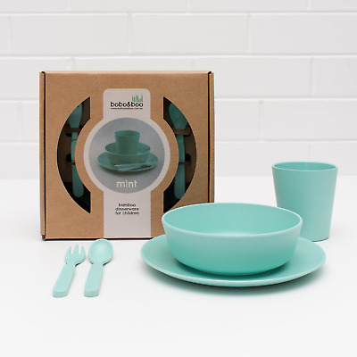 Bobo&Boo Bamboo 5 Piece Children's Dinnerware, Mint Green, Non Toxic Kids Meal
