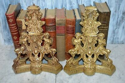 Antique Pair French Brass Andirons Chenets Figural Females Cherubs Satyr Fauns
