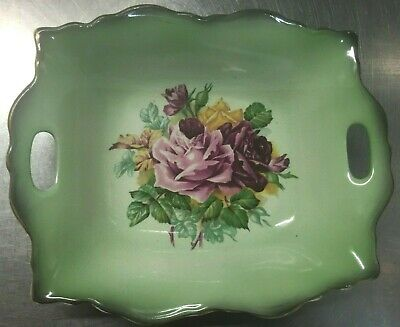 Vintage Staffordshire Old Foley James Kent Green Pin Dish Pink Roses Bowl 5348