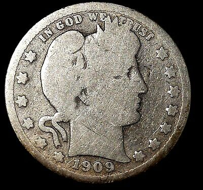 1909-P 25C Barber Quarter, m3117uat-3 90% Silver, Only 50 Cents for Shipping