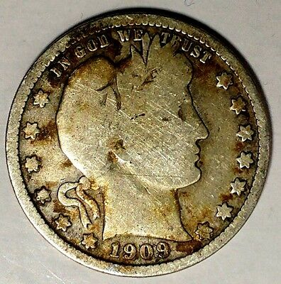 1909-D 25C Barber Quarter, 19clu0104 90% Silver, Only 50 Cents for Shipping