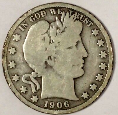 1906-D 50C Barber Half Dollar, 18wct1202 90% Silver, 50 Cents Shipping