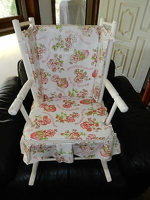 Vintage Child Size Strawberry Shortcake Wooden Rocking Chair RARE