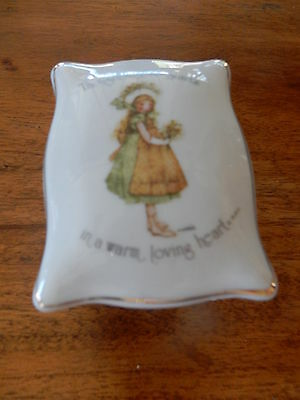 "Vintage Holly Hobbie Footed Rectangle Trinket Box ""Thoughtfulness starts in a.."