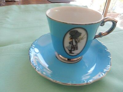Vintage Holly Hobbie Blue Girl  Cup And Saucer RARE Full Size