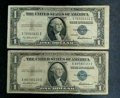 LOT OF TWO1935 F $1 Silver Certificate; Blue Seal