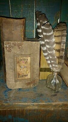 Early Inspired Primitive Hand Stitched Sampler Happy Easter Egg Tree