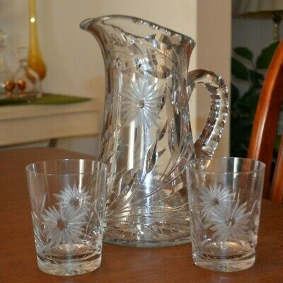 Antique ABP Cut Crystal Pitcher W/ 2 Matching Tumblers American Brilliant Period