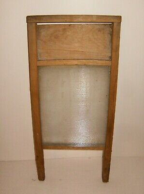 "Vintage washboard glass panel 9""x18"""