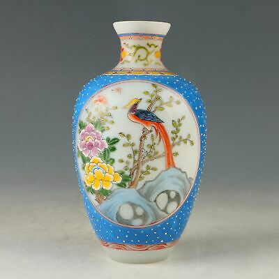 Chinese Exquisite Glaze Hand-Painted Flower & Bird Vase W Qianlong Mark CC0918