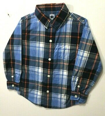 JANIE & JACK toddler boy size 2t shirt Plaids & Checks 100% cotton Multi-Color