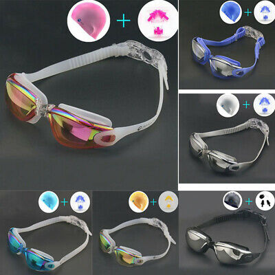 Adult Anti-Uv/fog Swimming Goggles With Cap Nose Clip Ear Plugs Kit Pack