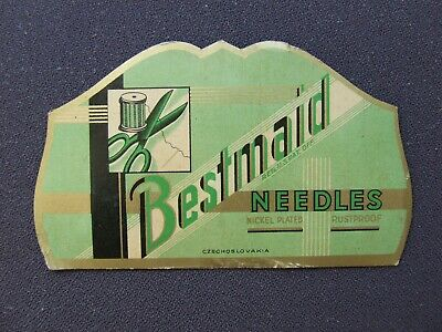 """Vintage Needle Case Collectable """"Bestmaid Deco Green"""""""""""