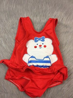 Vintage Carters Baby Girls Red Ruffle Bear Swimsuit