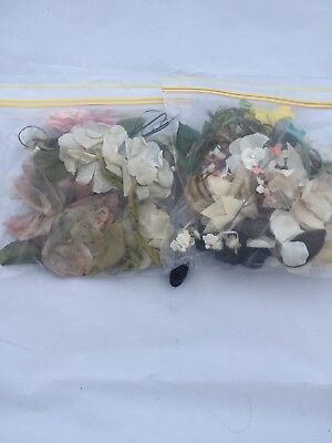 2 Bags Of Assorted Fake Flowers Millinery Craft & Art