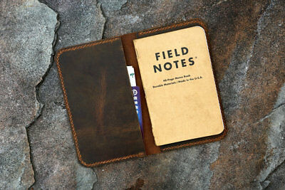 Slim minimal leather cover case for pocket size field notes notebook