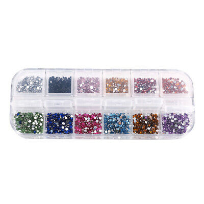 Powder Nail Art Gems Nail Tips Round 12 Colors Set Professional Diamante DIY