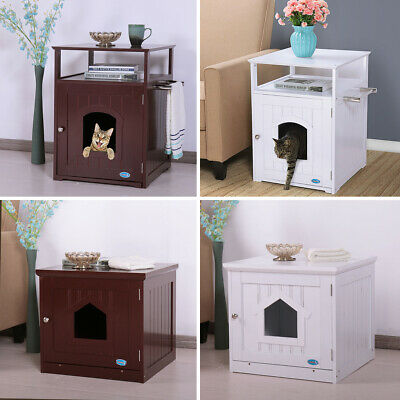 Cat Litter Box Enclosure Hidden End Table Nightstand Pet House Kitty Washroom