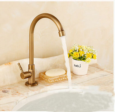 AS Bathroom/Kitchen Tall Swivel Spout Antique Brass Faucet Tap Only Cold Water i