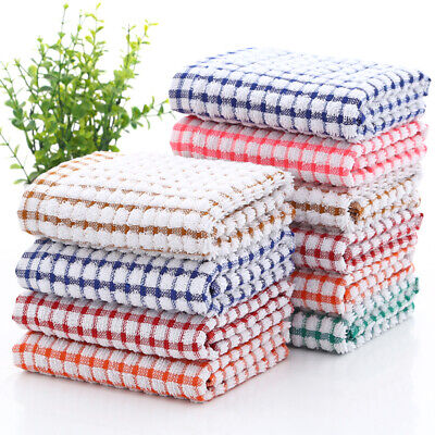 Kitchen Terry Tea Towels Lattice Cotton Dishcloths Cleaning Drying Washcloths LO