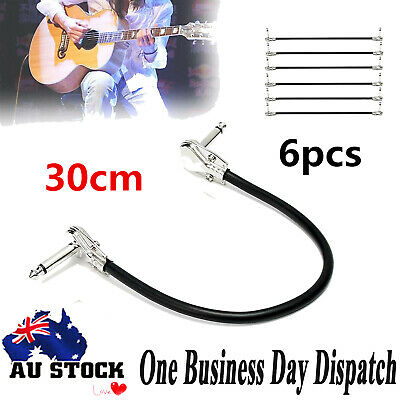6pcs 30cm Bass Guitar Effect Pedal Board Patch Cable Cord With Right Angle Plug