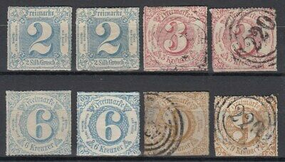 German States 1865 ☀ THURN and TAXIS 4. issue ☀ 8v MH & used - scan